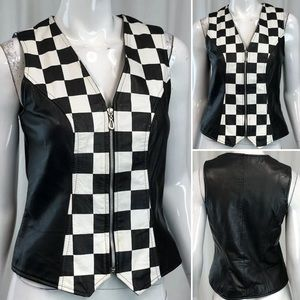 Vintage USA Cache Leather Checkered Zip Vest